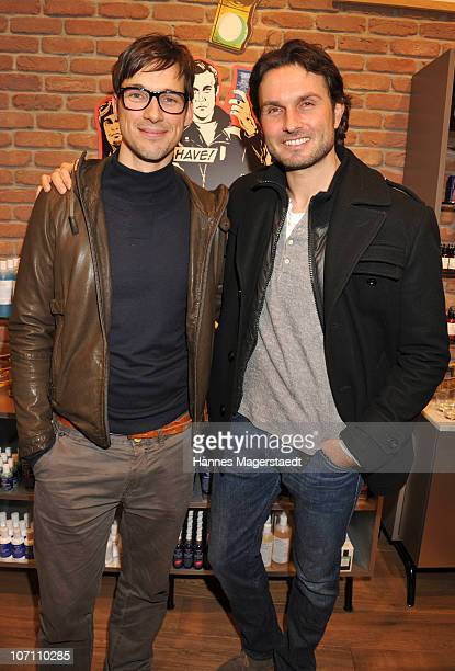 Actor Florian David Fitz and Simon Verhoeven attend the Kiehl's Store Opening on November 24 2010 in Munich Germany