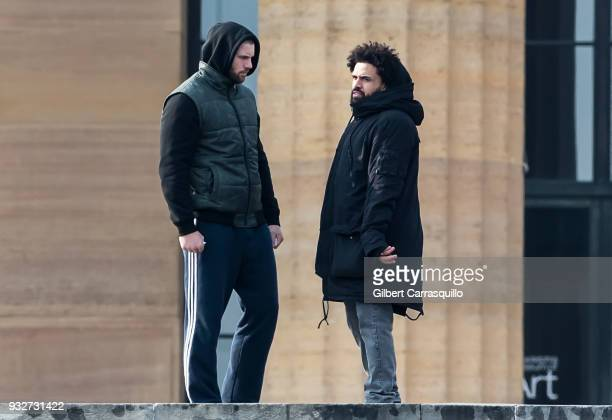 Actor Florian Munteanu and director Steven Caple Jr are seen on set filming 'Creed II' at the Rocky Statue and the 'Rocky Steps' at The Philadelphia...