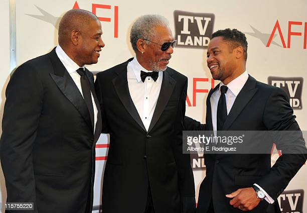 Actor Forest Whitaker 39th Life Achievement Award recipient Morgan Freeman and actor Cuba Gooding Jr arrive at the 39th AFI Life Achievement Award...