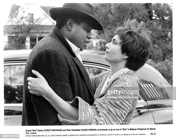 Actor Forest Whitaker and actress Diane Venora on set of the Warner Bros movie 'Bird' circa 1988