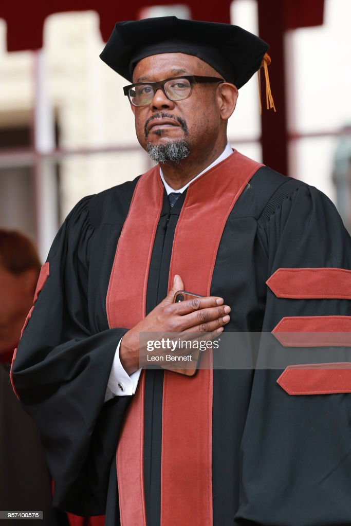Actor Forest Whitaker attends The University Of Southern California's Commencement Ceremony and receives his Doctorate Degree at Alumni Park at USC on May 11, 2018 in Los Angeles, California.