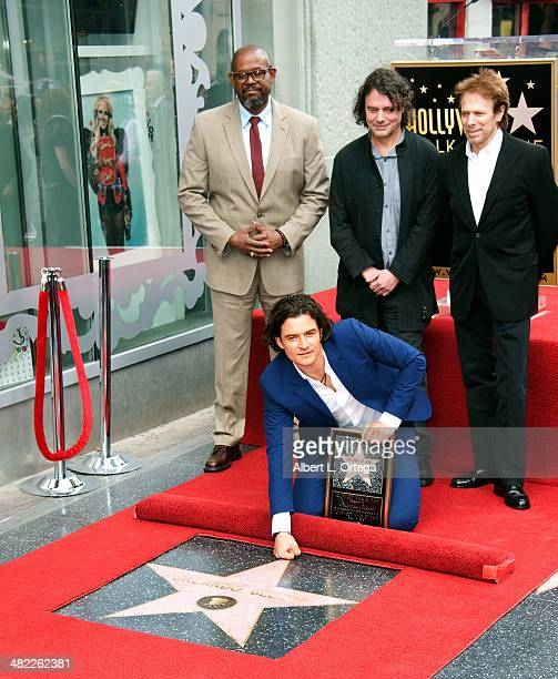 Actor Forest Whitaker director David Leaveaux producer Jerry Bruckheimer and actor Orlando Bloom at The Hollywood Walk Of Fame ceremony honoring...