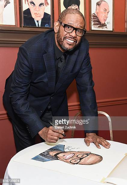 Actor Forest Whitaker poses during the unveiling of his portrait at Sardi's on March 20 2016 in New York City
