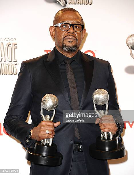 Actor Forest Whitaker poses in the press room at the 45th NAACP Image Awards at Pasadena Civic Auditorium on February 22 2014 in Pasadena California