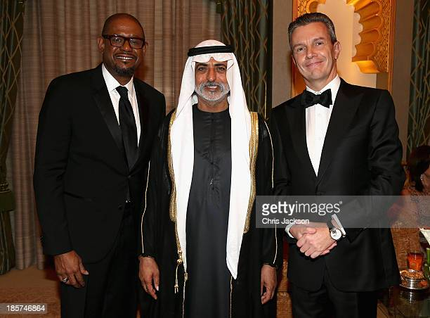 Actor Forest Whitaker, Sheikh Nahyan bi Mubarack Al Nahyan and Jaeger LeCoultre CEO Daniel Riedo attend the opening ceremony of the Abu Dhabi Film...
