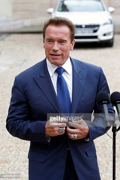 US actor former governor of California and founding chair of the R20 initiative Arnold Schwarzenegger makes a statement after his meeting with French...