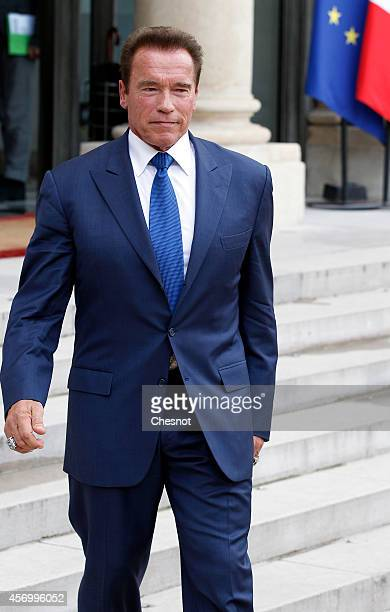 US actor former governor of California and founding chair of the R20 initiative Arnold Schwarzenegger leaves after his meeting with French President...