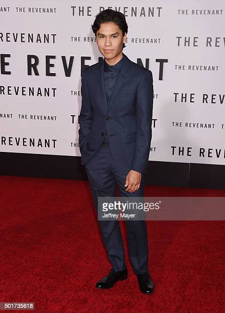 Actor Forrest Goodluck arrives at the Premiere of 20th Century Fox And Regency Enterprises' 'The Revenant' at TCL Chinese Theatre on December 16 2015...