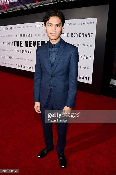 Actor Forrest Goodluck attends the premiere of 20th Century Fox and Regency Enterprises' The Revenant at the TCL Chinese Theatre on December 16 2015...