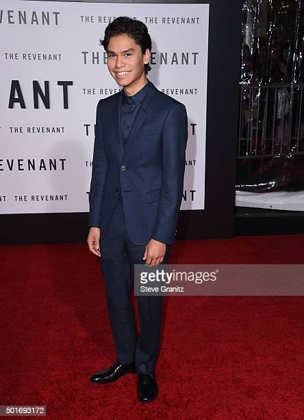 Actor Forrest Goodluck attends the premiere of 20th Century Fox and Regency Enterprises' 'The Revenant' at the TCL Chinese Theatre on December 16...