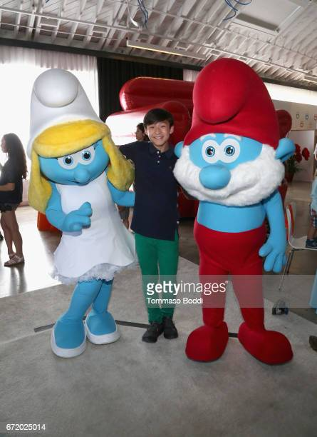 Actor Forrest Wheeler and Smurfs attend Safe Kids Day 2017 at Smashbox Studios on April 23 2017 in Culver City California