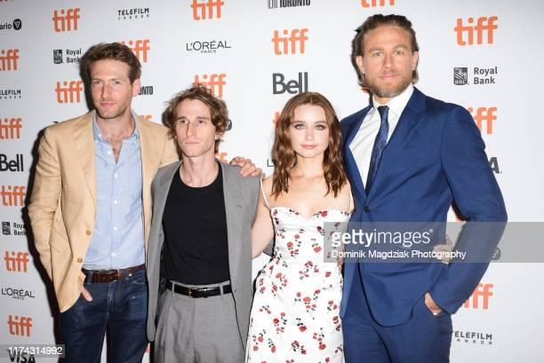 Actor Fran Kranz director Max Winkler actress Jessica Barden and actor Charlie Hunnam attend the Jungleland photo call during the 2019 Toronto...
