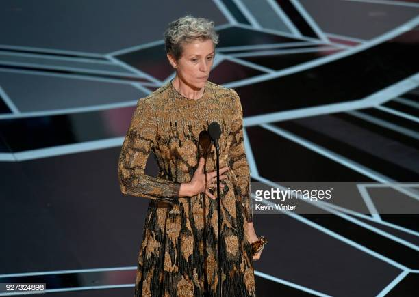 Actor Frances McDormand accepts Best Actress for 'Three Billboards Outside Ebbing, Missouri' onstage during the 90th Annual Academy Awards at the...