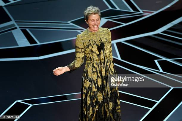 Actor Frances McDormand accepts Best Actress for 'Three Billboards Outside Ebbing Missouri' onstage during the 90th Annual Academy Awards at the...