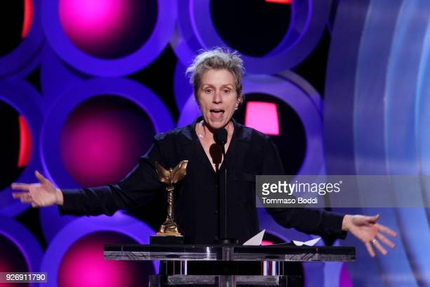 Actor Frances McDormand accepts Best Female Lead for 'Three Billboards Outside Ebbing Missouri' onstage during the 2018 Film Independent Spirit...