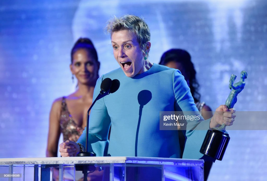 Actor Frances McDormand accepts the award for Outstanding Performance by a Female Actor in a Leading Role onstage during the 24th Annual Screen Actors Guild Awards at The Shrine Auditorium on January 21, 2018 in Los Angeles, California. 27522_007