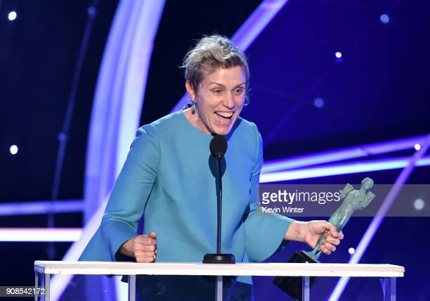 Actor Frances McDormand accepts the Outstanding Performance by a Female Actor in a Leading Role award for 'Three Billboards Outside Ebbing Missouri'...