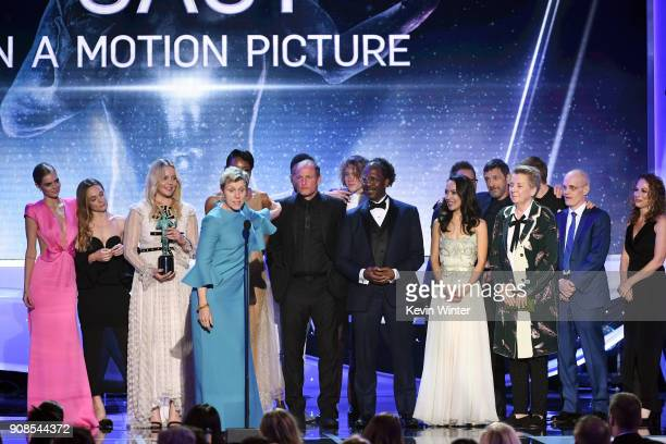 Actor Frances McDormand and 'Three Billboards Outside Ebbing Missouri' castmates accept the Outstanding Performance by a Cast in a Motion Picture...