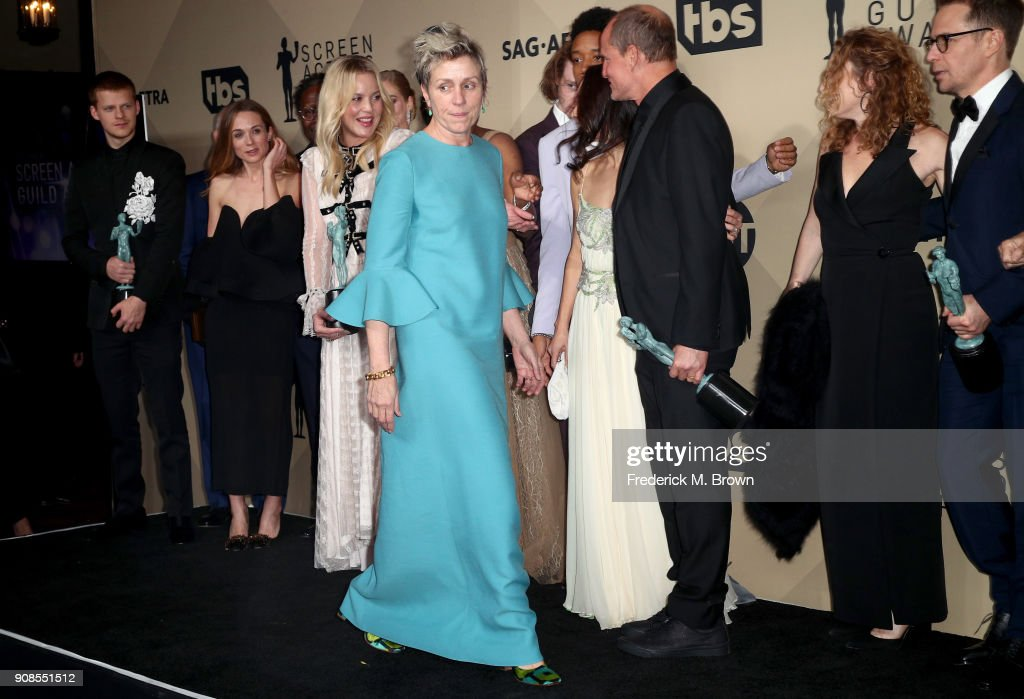 Actor Frances McDormand, winner of Outstanding Performance by a Female Actor in a Leading Role and cast of 'Three Billboards Outside Ebbing, Missouri', winners of Outstanding Performance by a Cast in a Motion Picture, pose in the press room during the 24th Annual Screen Actors Guild Awards at The Shrine Auditorium on January 21, 2018 in Los Angeles, California. 27522_017