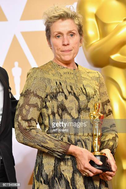 Actor Frances McDormand winner of the Best Actress award for 'Three Billboards Outside Ebbing Missouri' poses in the press room during the 90th...