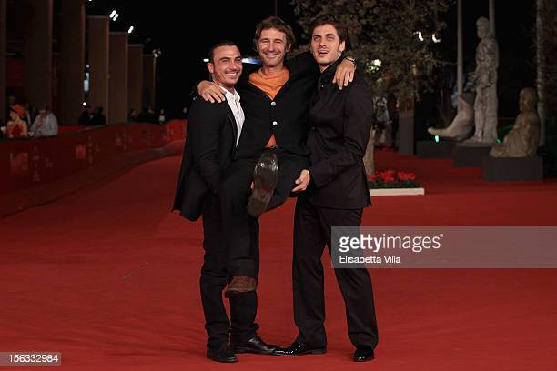 Actor Francesco di Leva, director Corrado Sassi and actor Luca Marinelli attend the 'Waves' Premiere during the 7th Rome Film Festival at the...