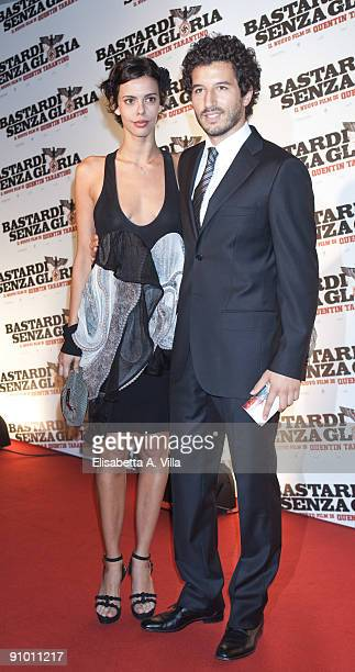 Actor Francesco Scianna and Virginie Marsan attend Inglourious Basterds Premiere at the Warner Cinema on September 21 2009 in Rome Italy