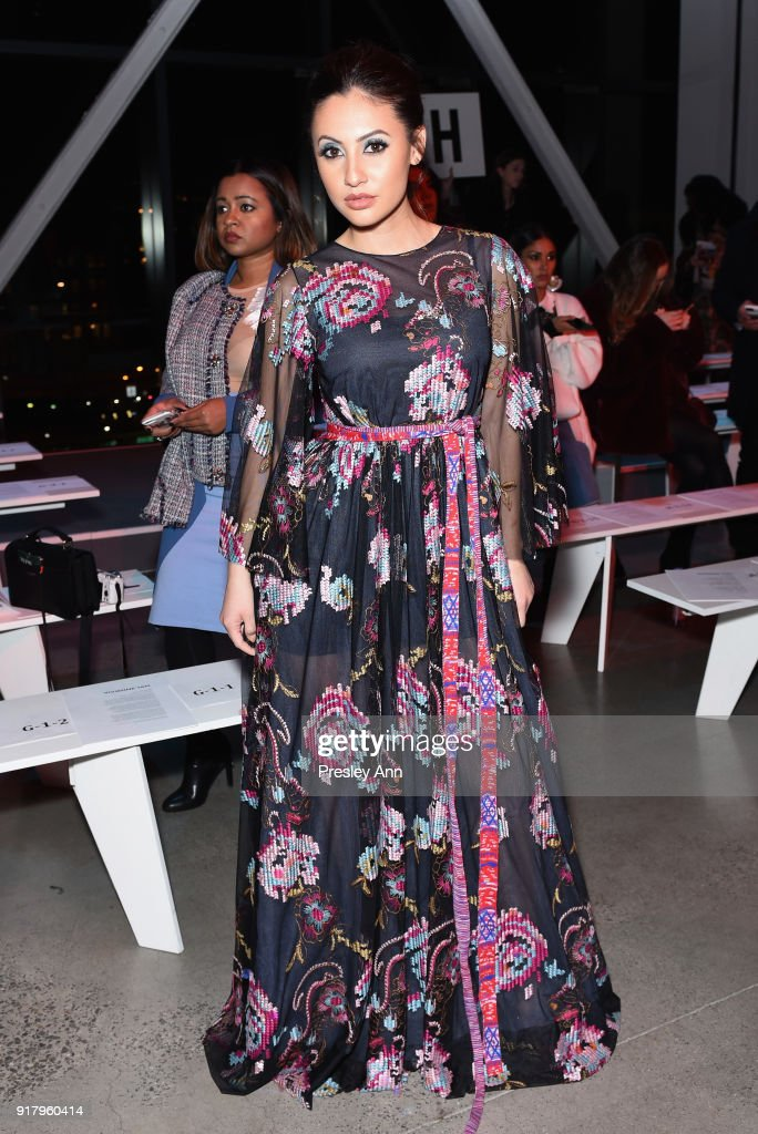 Actor Francia Raisa attends the Vivienne Tam front row during New York Fashion Week at Spring Studios on February 15, 2018 in New York City.