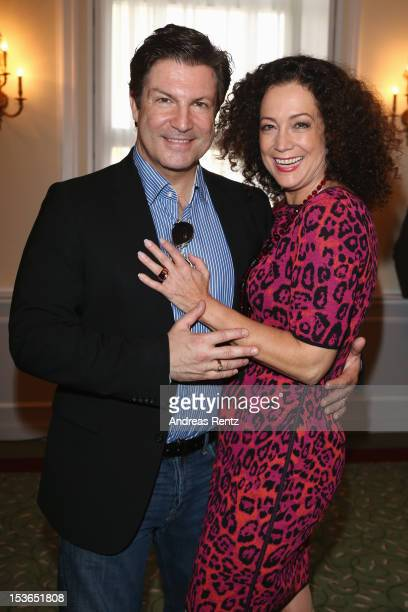 Actor Francis FultonSmith and actress Barbara Wussow pose during a photocall to present the 'Jedermann' theater performance at Kempinski Hotel...