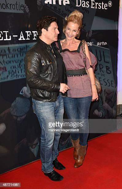 Actor Francis FultonSmith and Franziska Schlattner attend 'Die SpiegelAffaere' Preview at Gloria Palast on April 28 2014 in Munich Germany