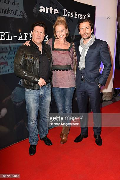 Actor Francis FultonSmith Franziska Schlattner and Quirin Berg attend 'Die SpiegelAffaere' Preview at Gloria Palast on April 28 2014 in Munich Germany