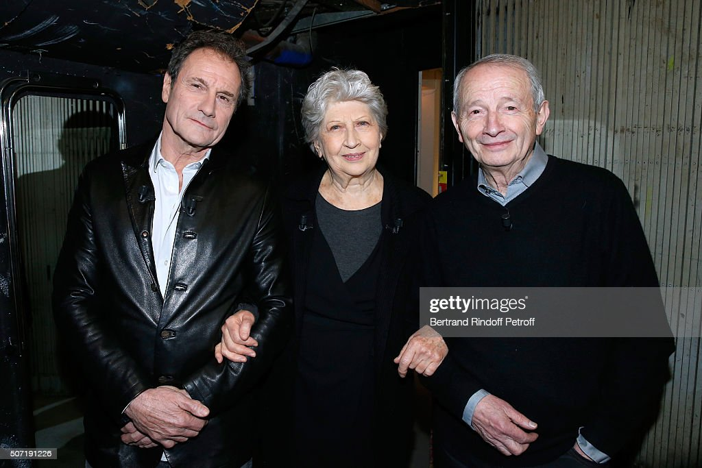 Actor Francis Lombrail, Actress Juliette Carre and Stage Director Georges Werler present the Theater play 'A tord et a raison', performed at Theatre Hebertot, during the 'Vivement Dimanche' French TV Show at Pavillon Gabriel on January 27, 2016 in Paris, France.
