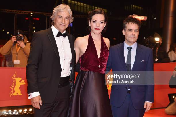 Actor Francisco Reyes actress Daniela Vega and film director and screenwriter Sebastian Lelio attend the 'A Fantastic Woman' premiere during the 67th...