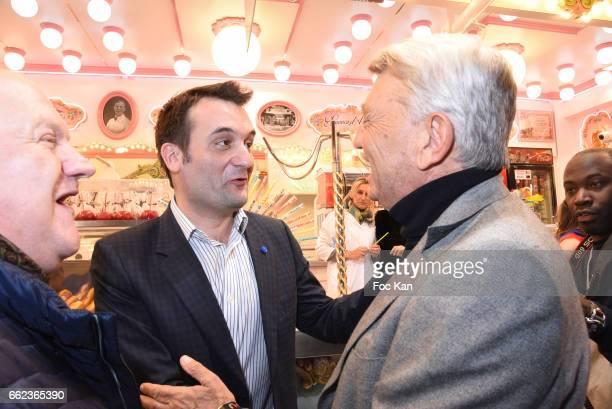Actor Franck de la Personne and Front National Party deputy Florian Philippot and politician Alain Madelin attend Foire du Trone Auction Launch Party...