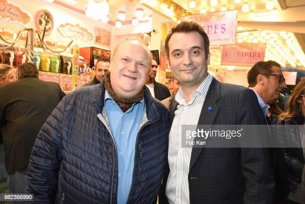 Actor Franck de la Personne and Front National Party deputy Florian Philippot attend Foire du Trone Auction Launch Party to benefit 'Les Petits...
