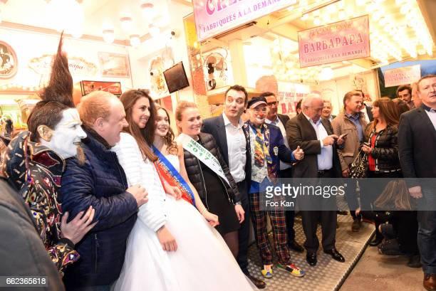 Actor Franck de la Personne Front National Party deputy Florian Philippot Marcel Campion and guests attend Foire du Trone Auction Launch Party to...