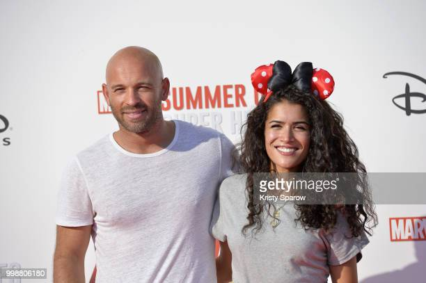 Actor Franck Gastambide and actress Sabrina Ouazani attend the European Premiere of Marvel Studios 'AntMan And The Wasp' at Disneyland Paris on July...