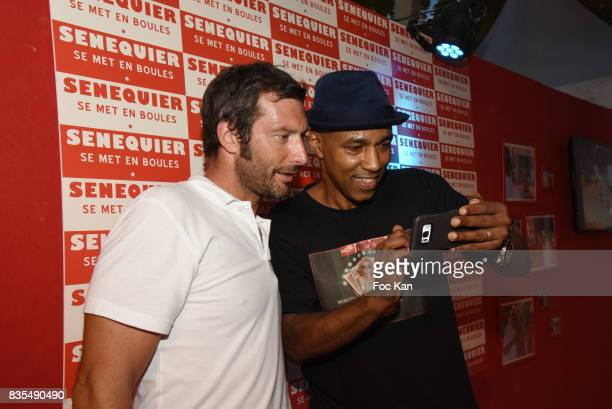 Actor Franck Semonin and DJ Mohamed Moretta from Kool And The Gang attend the Trophee Senequier Petanque competition at Place des Lices SaintTropez...