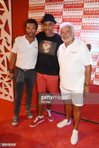 Actor Franck Semonin DJ Mohamed Moretta from Kool And The Gang and hairdresser artist Franck Provost attend the Trophee Senequier Petanque...