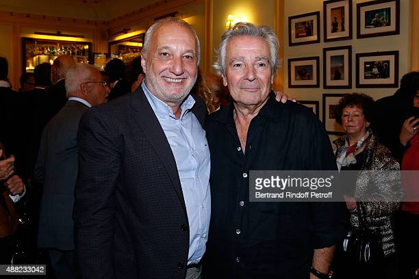 Actor Francois Berleand and Actor of the Piece Pierre Arditi attend 'Le Mensonge' : Theater Play. Held at Theatre Edouard VII on September 14, 2015...