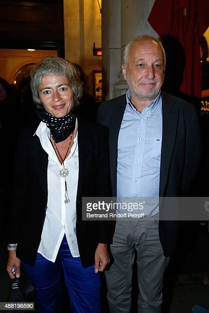 Actor Francois Berleand and his wife Alexia Stresi attend 'Le Mensonge' Theater Play Held at Theatre Edouard VII on September 14 2015 in Paris France