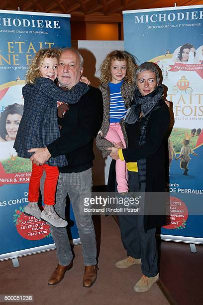 Actor Francois Berleand attends the 'Il Etait Une Fois' Theater Play at Theatre de La Michodiere with his wife Alexia Stresi and their children Lucie...
