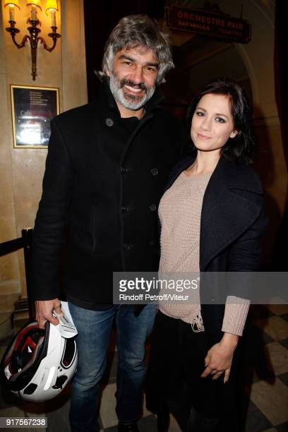 Actor Francois Vincentelli and Actress Alice Dufour attend 'Quelque Part dans cette Vie' Generale at Theatre Edouard VII on February 12 2018 in Paris...