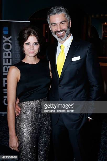 Actor Francois Vincentelli and Agnes Dufour attend the 27th 'Nuit Des Molieres' 2015 Held at Folies Bergere on April 27 2015 in Paris France