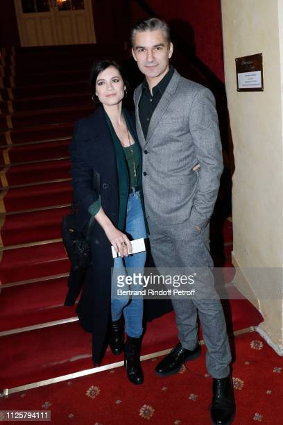 Actor Francois Vincentelli and his wife Alice Dufour attend the Michele Bernier One Woman Show 'Vive Demain ' at Theatre des Varietes on January 28...
