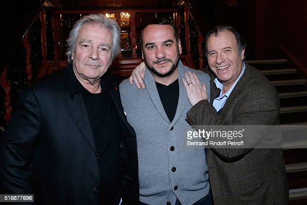 Actor Francois Xavier Demaison standing between Actors of the Piece Pierre Arditi and Daniel Russo attend the 'L'Etre ou pas' Theater play at Theatre...