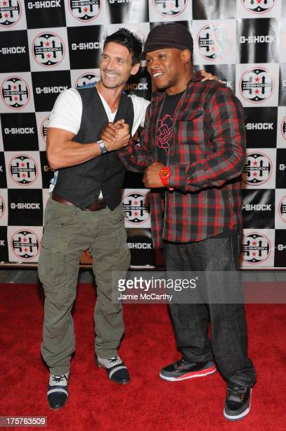 Actor Frank Grillo and Sway attend GShock Shock The World 2013 at Basketball City on August 7 2013 in New York City