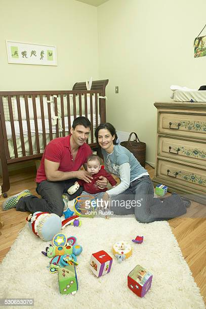 Actor Frank Grillo and Wendy Moniz are photographed with son Liam on January 8 2005 at home