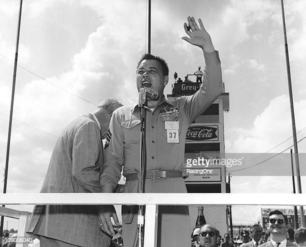 Actor Frank Sutton addresses the crowd during pre-race festivities prior to the Southern 500 NASCAR Cup race at Darlington Raceway. Sutton played...