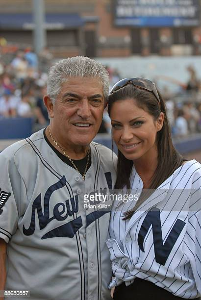 Actor Frank Vincent and Jill Nicolini from WPIX11 attend the 2009 Atlantic League allstar game and the Hot 97 vs KISSFM Celebrity Softball Showdown...