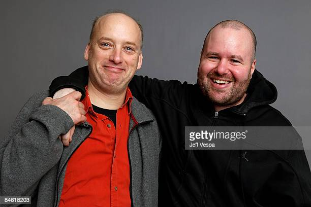 Actor Frank Wood and director Noah Buschel pose for a portrait during the 2009 Sundance Film Festival held at the Film Lounge Media Center on January...
